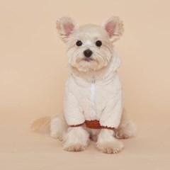 플로트 플러피후리스 아노락후드 강아지옷 브라운