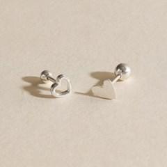 2종 실버925 미니 심플 데일리 라인 하트 은 피어싱 귀걸이