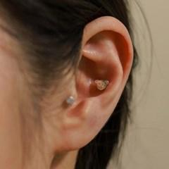 실버925 미니 데일리 스마일 곰돌이 은 피어싱 귀걸이