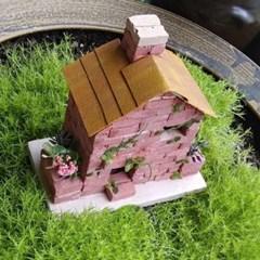 붉은 미니 벽돌집 만들기 DIY 벽돌 미니어쳐 하우스 소품 테라리움