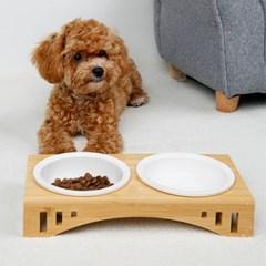강아지 고양이 애견 펫홀릭 대나무 식탁 식기 세트 (2type)