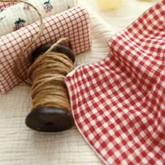 레드톤 5mm체크 이중거즈 키친크로스 손수건 행주 덮개 주방타올