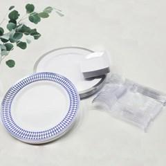 쓱싹 플라스틱 다회용접시 손님초대 집들이 블루사파이어 60p, 1세트