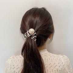 [드앙땅] 오로라 진주 스프링 머리끈/ 진주머리끈