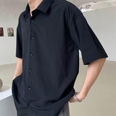 남자 댄디룩 찰랑 오버핏 무지 남방 기본 반팔 셔츠