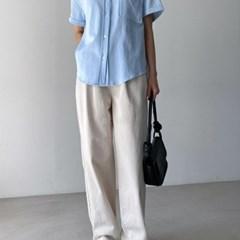 여자 청남방 반팔 기본핏 포켓 놈코어 데님 셔츠