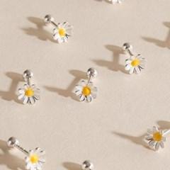실버925 미니 데일리 화이트 데이지 꽃 은 피어싱 귀걸이