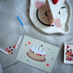 비즈와 스팽글로 꾸미는 [생일카드 2장 만들기] DIY KIT