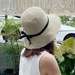 여성 여름 리본끈 밀짚모자 비치 바캉스 플로피햇