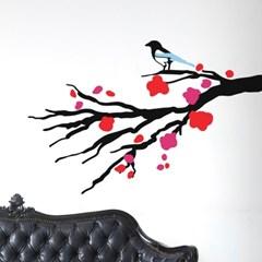 매화나무에 앉은 까치 일러스트 스티커