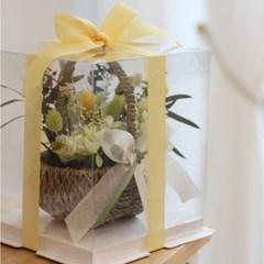 프리저브드 그린스템수국 꽃바구니 선물