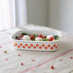 [모던하우스] L 레드 작은꽃마리 법랑 납작보관용기