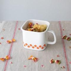 [모던하우스] L 레드 작은꽃마리 법랑 다용도 보관용기 14cm