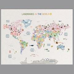 세계지도 동물지도 지도포스터 랜드마크 세계지도포스터