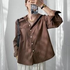 여름 루즈핏 카라 워싱 코튼 무지 맞주름 기본 셔츠남방