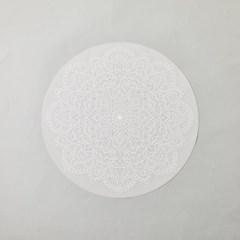 [모던하우스] 레이스패턴 실리콘 원형 식탁매트 38cm 화이트
