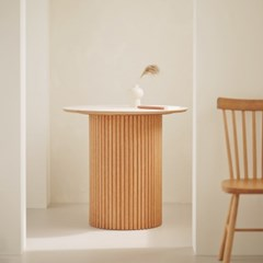 오브제 호마이카 원형 테이블 2인/4인 원목 카페 식탁 국내제작 2siz