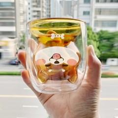시바견 이중유리컵 강아지 우유잔 우유컵 귀여운컵