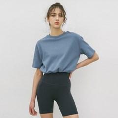 여성 요가복 DEVI-T0062-에코블루 필라테스 스트링 티셔츠 반팔티