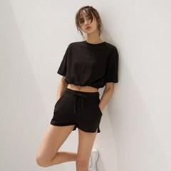 여성 요가복 DEVI-T0062-블랙 필라테스 스트링 티셔츠 반팔티