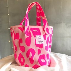 미니 레오파드 패턴 캔버스 토드백 표범무늬 핸드백 에코백 손가방