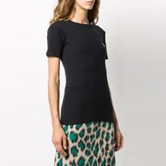21FW 여성 폭스 패치 반팔 티셔츠 FW00140KJ0012 BK