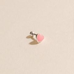 실버925 미니 핑크 민트 에폭시 하트 은 피어싱