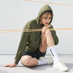 여성 요가복 DEVI-T0065-카키 필라테스 반집업 후드티
