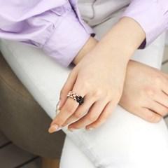 에르모사젬스톤 SG-R003-블랙스피넬 4mm+로즈골드 볼 반지-FREE SIZE