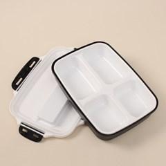 해피런치 수저통 4구 식판도시락 (블랙)