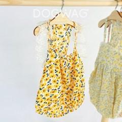 도그웨그 해바라기 벌룬 민소매 원피스 강아지 여름 옷 나시