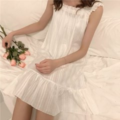 면 나시 잠옷 여성 민소매 파자마 여름 홈웨어 원피스