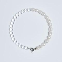 Natural white crystal pearl chocker