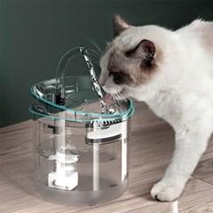 강아지 고양이 애견 자동 투명급수기 반려용품 물통