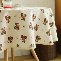 들딸기 원형식탁보(크림)