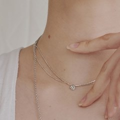 [silver925]Crystal center layered necklace