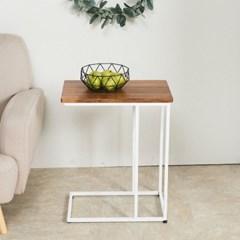 멀바우 원목 ㄷ자 폭좁은 차키 쇼파 사이드 테이블