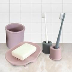 소프트 실리콘 욕실용품 4종세트(칫솔꽂이2개+비누받침1개+다용도컵1