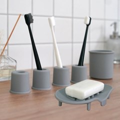 소프트 실리콘 욕실용품 6종세트(칫솔꽂이4개+비누받침1개+다용도컵1