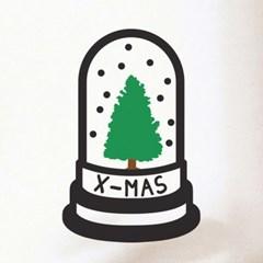 유리병속 작은 트리 겨울 크리스마스 스티커