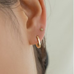 14K Gold Round Square Onetouch Earrings (14k골드) s10