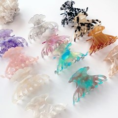 [1+1] 영롱 오로라 빛깔 조가비 조개 헤어 집게핀 (12color)