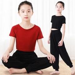 여아 전통 댄스 무용복 배꼽티 상하 2종 세트 연습복 J