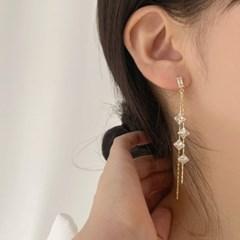 [당일배송][웨딩][귀찌가능] 우아한 드레스 사각큐빅 파티 귀걸이