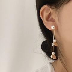 [당일배송][웨딩][귀찌가능] 투웨이 진주드롭 낙엽 웨딩 귀걸이