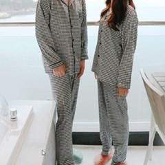 최고급 원단 체크무늬 실크잠옷 커플