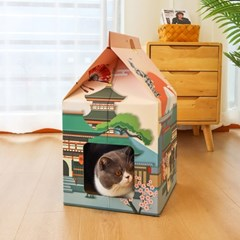 일본 애묘 펫하우스 고양이 우유곽 숨숨집