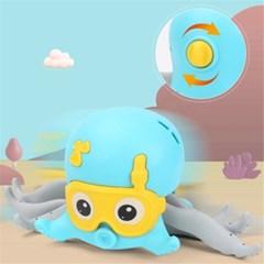 유아 아기 목욕 장난감 헤엄치고 움직이는 문어 놀이 J