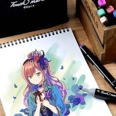 드로잉 디자인 마카 세트 미술용 컬러 마커 펜 색연필 J