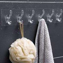 간편 접착식 6구 후크 5p(투명) 욕실걸이 샤워타월걸이